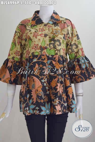 Jual Online Busana Batik Wanita Size L, Pakaian Batik Modis Halus Proses Printing Model Kerah Lancip Modis Untuk Kerja