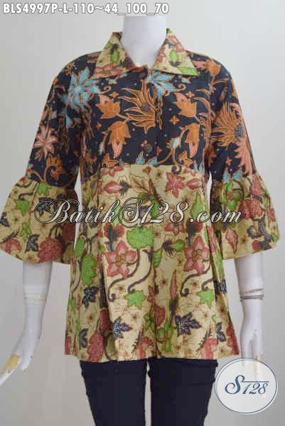 Baju Blus Batik Istimewa Kwalitas Bagus, Produk Busana Batik Solo Proses Printing Untuk Penampilan Modis Dengan Model Kerah Lancip, Size L