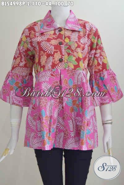 Jual Baju Blus Kombinasi Warna Merah Dan Pink, Pakaian Batik Kerah Lancip Motif Proses Printing Harga Murmer, Size L