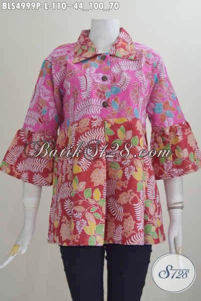 Baju Batik Wanita Dual Warna, Blus Batik Kerah Lancip Motif Keren Proses Printing Di Jual 110K, Size L