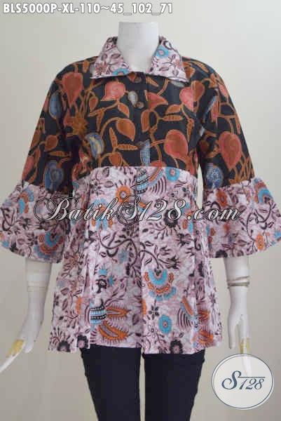 Aneka Blus Batik Dual Motif, Blus Batik Kerah Lancip Desain Istimewa Bikin Wanita Terlihat Mempesona, Size XL