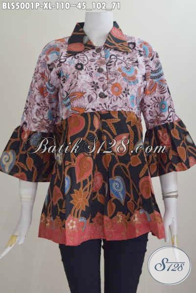 Baju Blus Dua Warna, Pakaian Batik Modis Dual Motif Model Kerah Lancip Size XL Untuk Perempuan Dewasa