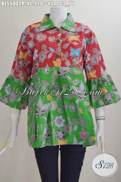 Sedia Busana Batik Wanita Daleman Non Furing, Blus Batik Kerah Lancip Keren Kombinasi Dua Warna Untuk Penampilan Nan Istimewa, Size XL