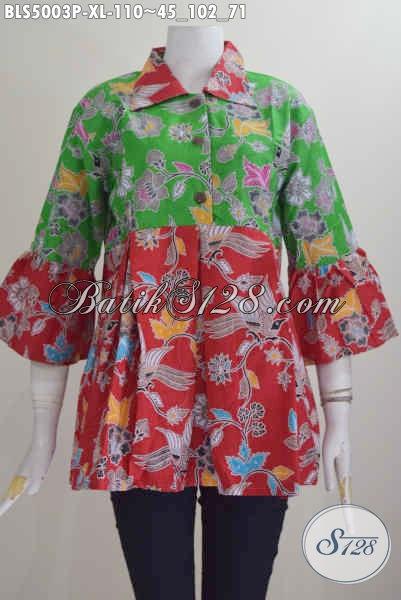 Toko Baju Batik Online, Sedia Blus Batik Keren Model Kerah Lancip Proses Printing Motif Bagus Kombinasi Merah Dan Hijau Tampil Lebih Gaya, Size XL