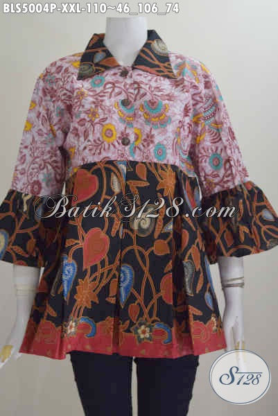 Agen Baju Batik Online, Jual Blus Batik Kerah Lancip Jumbo, Busana Batik Istimewa Desain Berkelas Motif Kombinasi Proses Printing 110K, Size XXL
