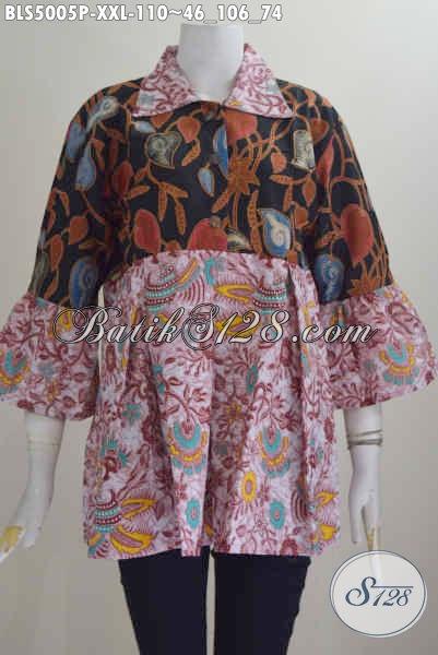Pakaian Blus Dual Motif, Baju Batik Keren Halus Ukuran Jumbo Proses Printing Kwalitas Istimewa