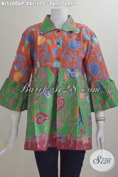 Pakaian Blus Batik Kombinasi Warna Orange Dan Hijau, Baju Batik Wanita Gemuk Bahan Halus Motif Elegan Proses Printing, Size XXL