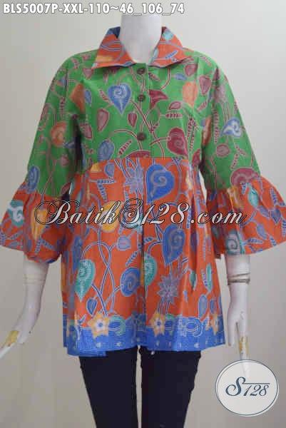 Jual Baju Blus batik Yang Membuat Wanita Gemuk Terlihat Langsing Mempesona, Baju Batik Dual Warna Kerah Lancip Proses Printing Di Jual 100 Ribuan, Size XXL