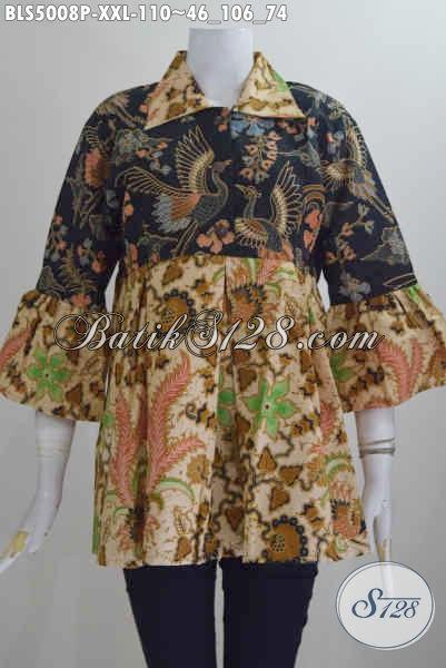 Produk Busana Batik Kwalitas Istimewa, Baju Blus Dual Warna Dan Motif Proses Printing, Cocok Untuk Seragam Kerja Kantoran, Size XXL