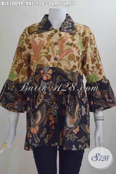 Pakaian Batik XXL Untuk Perempuan Karir, Baju Blus Kerah Lancip Motif Elegan Proses Printing Di Jual Online Harga 110K