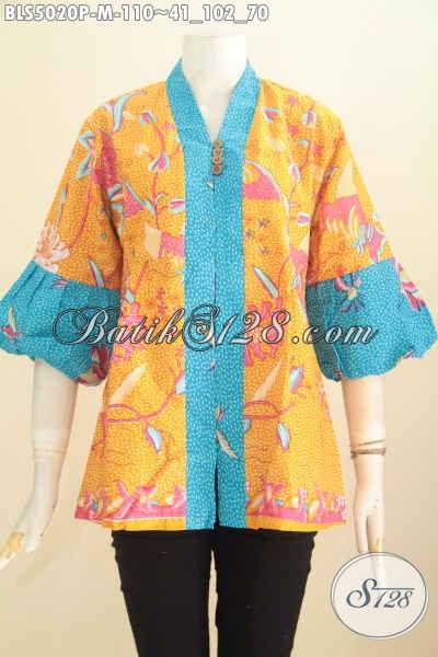 Baju Blus Batik Keren Model Terbaru Lengan Balon, Pakaian Batik Wanita Modern Motif Trendy Proses Printing Untuk Tampil Cantik Modis, Size M