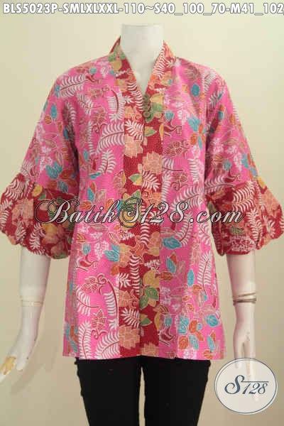 Jual Online Baju Batik Modis Lengan Balon, Pakaian Batik Warna Pink Aksen Merah Bahan Halus Untuk Tampil Trendy Dan Cantik Maksimal, Pilihan Size Lengkap