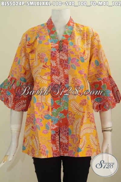 Sedia Baju Blus Batik Kuning Kwalitas Bagus Harga 100 Ribuan, Busana Batik Lengan Balon Istimewa Buat Kerja Serta Trendy Buat Hangout, Pilihan Ukuran Komplit