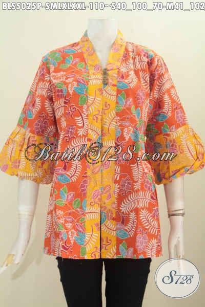 Jual Pakaian Batik Wanita Warna Orange Kombinasi Kuning Motif Keren, Baju Blus Lengan Model Balon Trend Masa Kini Untuk Tampil Modis [BLS5025P-M]
