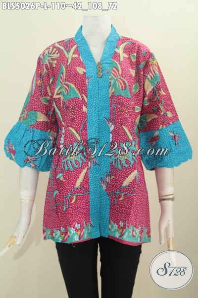 Baju Batik Keren Warna Merah Dengan Aksen Biru Motif Unik Proses Printing, Pakaian Batik Solo Untuk Wanita Karir Terlihat Stylish, Size L