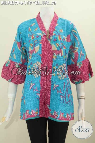 Produk Baju Blus Yang Bikin Wanita Terlihat Cantik Dan Mempesona, Berbahan Halus Motif Trendy Model Lengan Balon Motif Proses Printing Harga Terjangkau [BLS5027P-L]