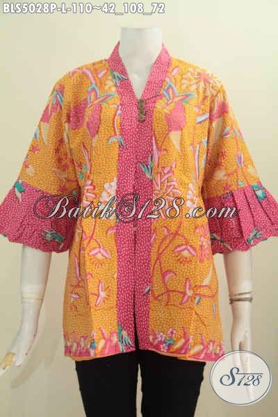 Jual Baju Blus Lengan Balon Warna Kuning Kombinasi Merah Bahan Halus Motif Trendy Cocok Buat Ke Kantor Dan Pesta, Size L