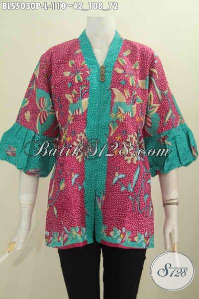 Pakaian Blus Bati Modis Halus Motif Unik Proses Printing, Baju Batik Lengan Balon Kha Jawa Tengah Untuk Wanita Karir Dan Perempuan Rumahan Tampil Lebih Anggun, Size L