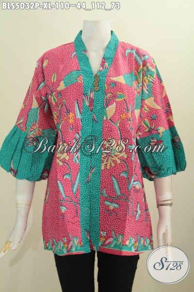 Baju Blus Batik Model Lengan Balon Keren Yang Banyak Di Cari Para Wanita Masa Kini, Hadir Dengan Bahan Halus Motif Dan Warna Keren Proses Printing Harga 110k, Size XL