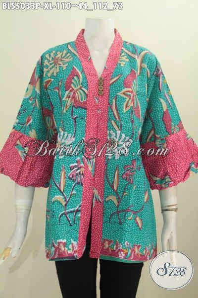 Jual Produk Pakaian Batik Wanita Model Blus Lengan Balon, Busana Batik Trendy Bahan Adem Proses Printing Yang Nyaman Di Pakai, Size XL Untuk Dewasa