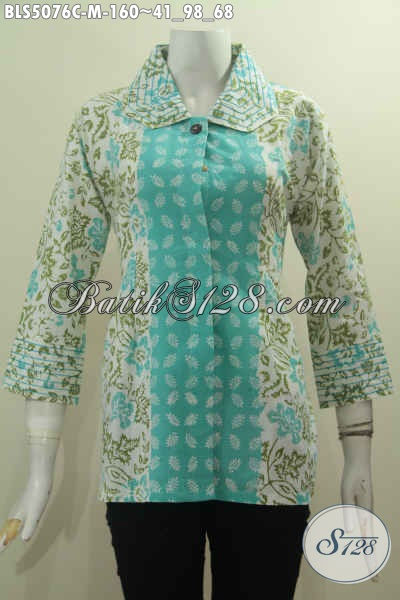 Batik Blus Elegan Model Kerah Desain Benang Besar, Baju Blus Batik Solo Buat Wanita Karir Tampil Berkelas Tiap Hari, Szie M