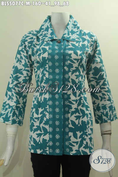 Baju Batik Elegan Nan Mewah, Berbahan Halus Motif Trendy Proses Cap Cocok Buat Kerja, Busana Batik Kerah Benang Besar Untuk Wanita Terlihat Berkelas, Size M