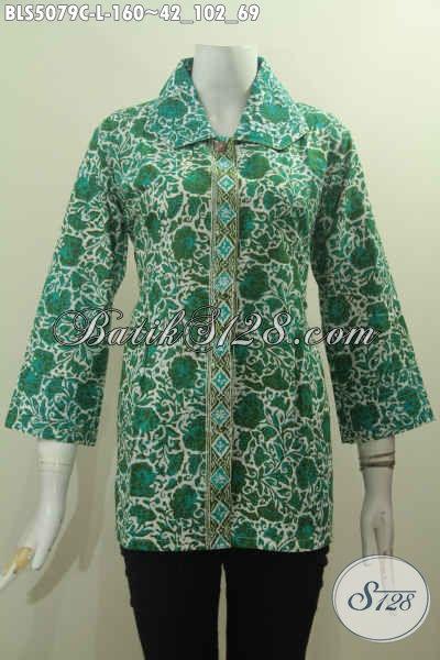 Baju Batik Hijau Desain Mewah Motif Berkelas Dengan Kerah Benang Besar Untuk Penampilan Makin Istimewa, Baju Batik Cap Buatan Solo Harga Pasti Terjangkau [BLS5079C-L]