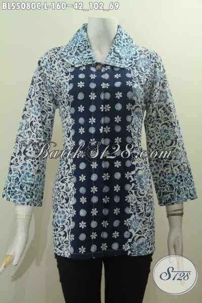 Jual Baju Blus Elegan Seragam Kerja Wanita Karir Size L, Pakaian Batik Perempuan Model Kerah Benang Besar Motif Dan Warna Kombinasi Untuk Tampil Telihat Mempesona