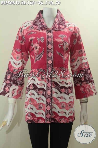 Baju Blus Desain Mewah Lerah Benang Besar, Busana Batik Formal Warna Merah Motif Terkini Proses Cap Sesuai Buat Wanita Muda Dan Dewasa Tampil Lebih Sempurna, Size XL