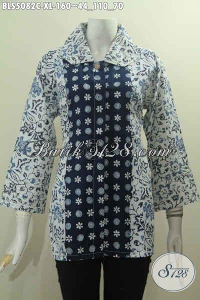 Baju Blus Batik Terkini Kwalitas Berbahan Halus Motif Mewah Proses Cap, Pakaian Batik Modern Khas Jawa Tengah Untuk Penampilan Semakin Istimewa, Size XL