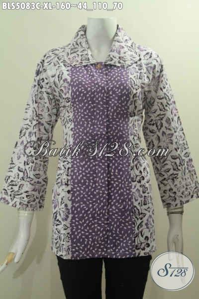 Pakaian Batik Seragam Kerja Buatan Solo Asli, Baju Blus Kerah Benang Besar Berbahan Halus Khas Jawa Tengah Untuk Penampilan Lebih Modis Dan Berkharisma, Size XL