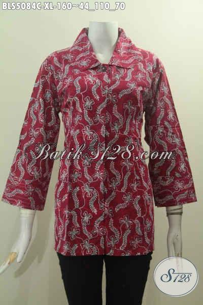 Batik Blus Merah Motif Bagus Desain Kerah Benang Besar, Baju Batik Trendy Untuk Wanita Dewasa Proses Cap Harga 160K, Size XL