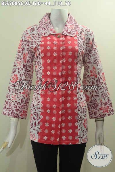 Produk Baju Blus Dua Warna, Pakaian Batik Dual Motif Nan Modis Dengan Kerha Benang Besar Elegan Proses Cap, Di Jual Online Harga 160 Ribu, Size XL