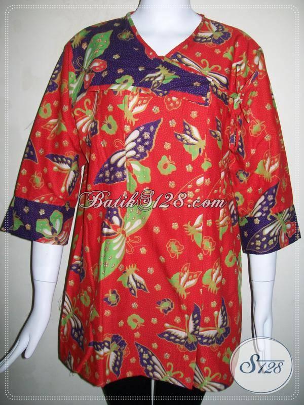 Motif Blus Batik Kupu Warna Merah Model Baju Batik Yang