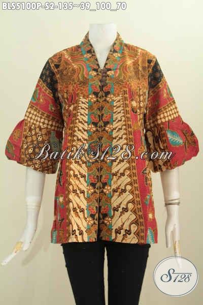 Baju Batik Blus Kerah Kartini, Busana Batik Lengan Balon Desain Mewah Keren Bahan Halus Motif Klasik Proses Printing, Size S Buat Wanita Muda