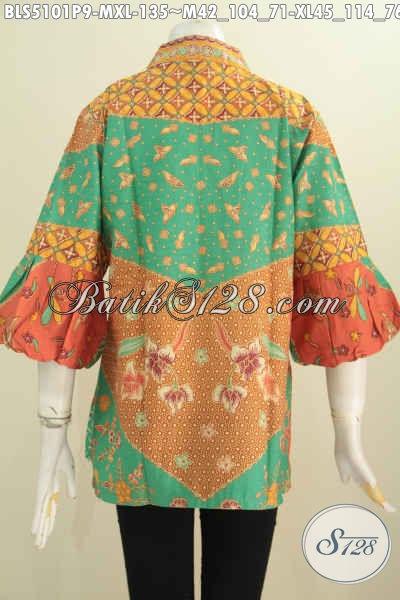 Blus Batik Modis Dan Berkelas Untuk Wanita Muda Dan Dewasa, Blus Kerah Kartini Lengan Balon Trend Mode 2016 Untuk Tampil Gaya, Size M – XL