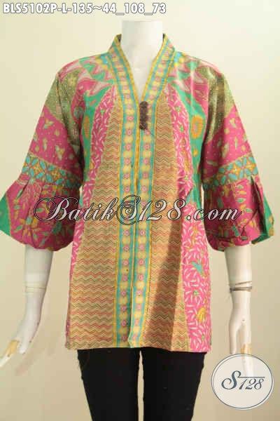 Jual Batik Blus Kerah Kartini Ukuran L, Blus Batik Modern Lengan Balon Berbahan Halus Proses Printing Motif Klasik, Cocok Buat Kondangan