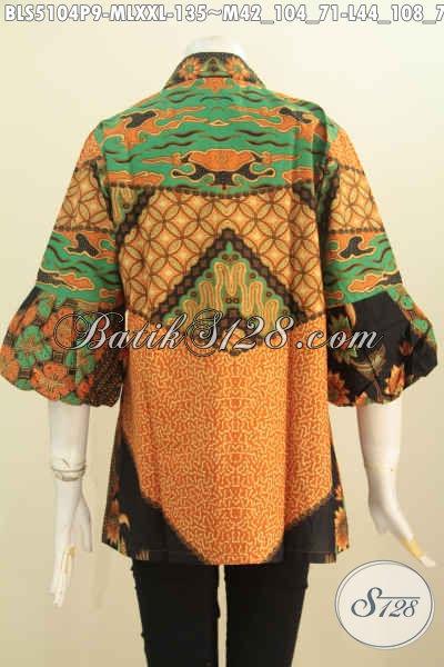 Aneka Busana Batik Wanita Terkini, Pakaian Batik Modis Keren Berkelas Bahan Adem Proses Printing Model Kerah Kartini Lengan Balon Untuk Penampilan Lebih Istimewa, Size M – L – XXL