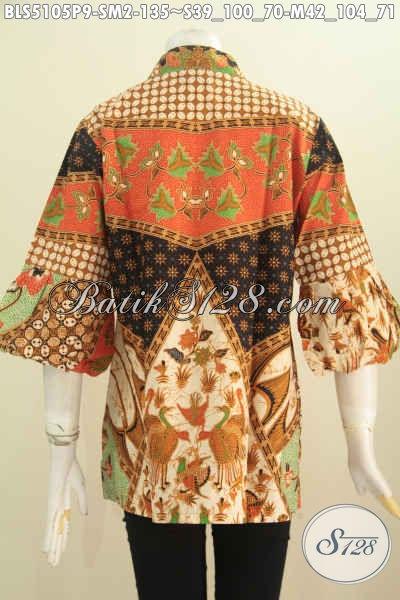 Baju Batik Blus Istimewa Lengan Balon Motif Klasik, Pakaian Batik Elegan Halus Proses Printing Kerah Kartini Buat Cewek Terlihat Anggun Dan Cantik, Size S – M