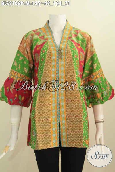 Blus Batik Klasik Dengan Kombinasi Warna Berkelas, Pakaian Kerja Terbaru Wanita Karir Model Kerah Kartini Berpadu Lengan Balon Penampilan Lebih Modis Dan Istimewa [BLS5106P-M]