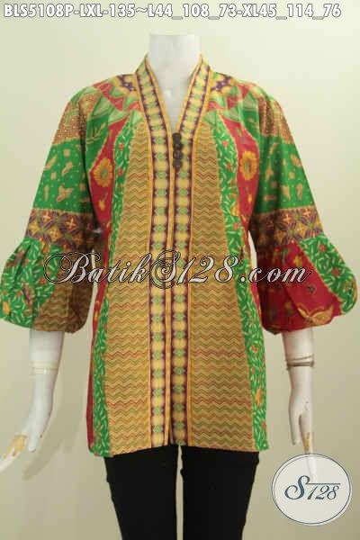 Batik Blus Solo Nan Istimewa Model Kerah Kartini, Baju Batik Halus Proses Printing Harga 135K Bahan Adem Untuk Wanita Dewasa [BLS5108P-XL]
