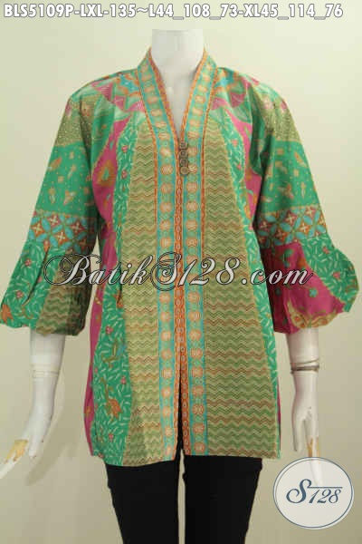 Toko Baju Batik Online Desain Mewah Lengan Balon, Pakaian Batik Istimewa Model Terbaru Yang Bikin Perempuan Dewasa Tampil Cantik Maksimal, Size L – XL