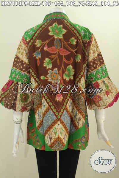 Batik Blus Elegan Istimewa Model Lengan Balon Kerah Kartini, Pakaian Batik Istimewa Berbahan Adem, Cocok Buat Ke Kantor Dan Kondangan, Size L – XL