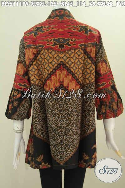 Pakaian Batik Wanita Dewasa Dan Perempuan Gemuk, Baju Batik Elegan Kerah Kartini Motif Klasik Proses Printing Berpadu Lengan Balon Untuk Tampil Gaya Dan Istimewa, Size XL – XXL