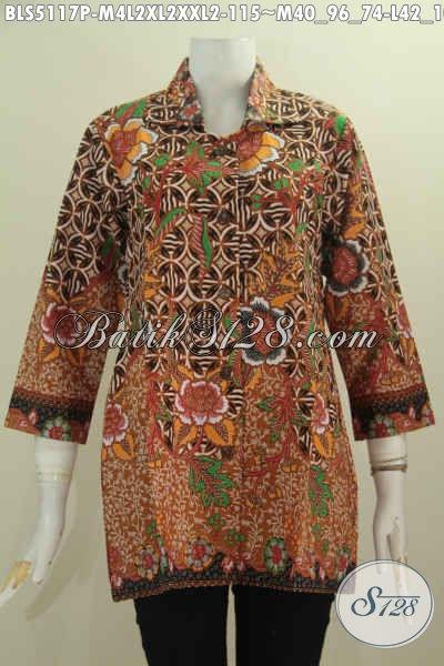 Pusat Online Pakaian Batik Jawa Tengah Terlengkap, Sedia Busana Batik Kerah Kotak Buat Wanita Karir Berbahan Halus Motif Unik Proses Printing Harga 115K