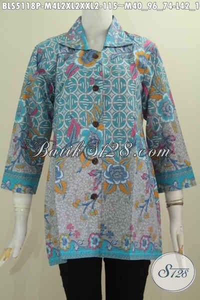 Aneka Busana Batik Halus Kerah Kotak, Blus Batik Perempuan Karir Buat Seragam Kerja, Berbahan Adem Motif Bagus Proses Printing Harga 100 Ribuan