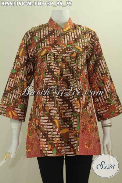 Baju Batik Terbaru Buat Wanita Muda Karir Aktif, Hadir Dengan Model Kerah Shanghai Tanpa Kancing Bermotif Trendy Proses Printing, Tampil Gaya Dengan Harga 100 Ribuan, Size M