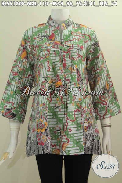 Baju Batik Wanita Terbaru Dengan Model Kerah Shanghai Tanpa Kancing, Busana Batik Modis Dan Elegan Bahan Adem Motif Bagus Proses Printing Harga 100 Ribuan, Size M – XL
