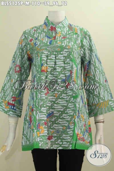 Sedia Pakaian Batik Modis Dan Keren Bahan Adem Proses Printing, Baju Batik Blus Kerah Shanghai Kwalitas Istimewa Harga 100K, Size M