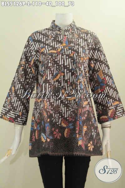Jual Produk Baju Batik Elegan Dan Modis Bahan Halus Motif Mewah Proses Printing Model Kerah Shanghai Tanpa Kancing, Istimewa Untuk Kondangan, Size L